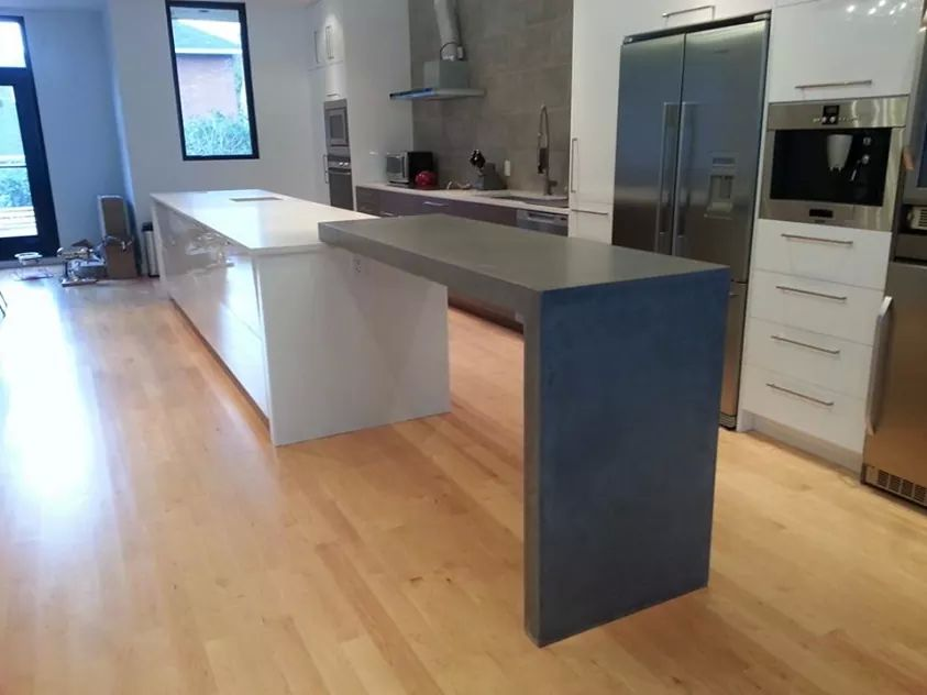 concrete post tension raised kitchen bartop